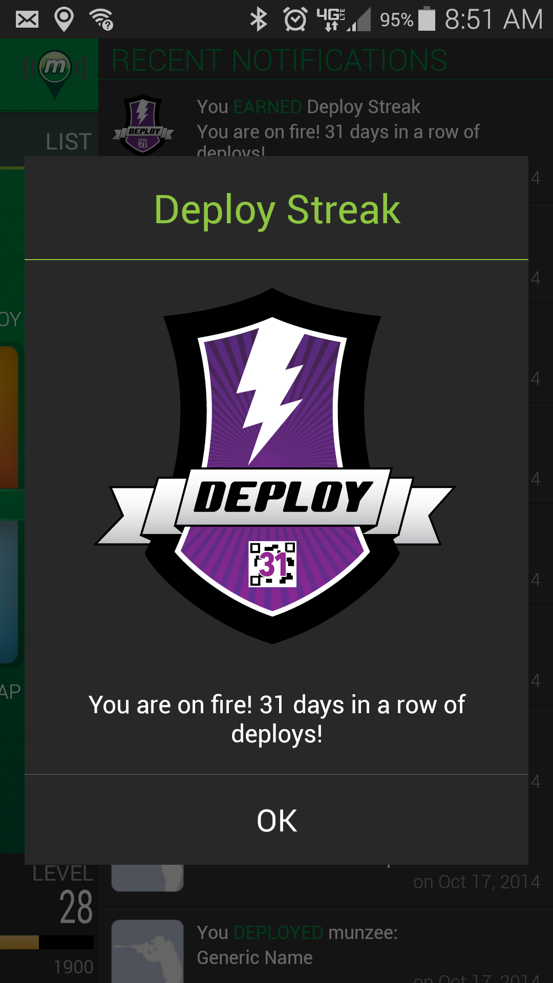 Munzee 31 Day Deployment Streak Achievement