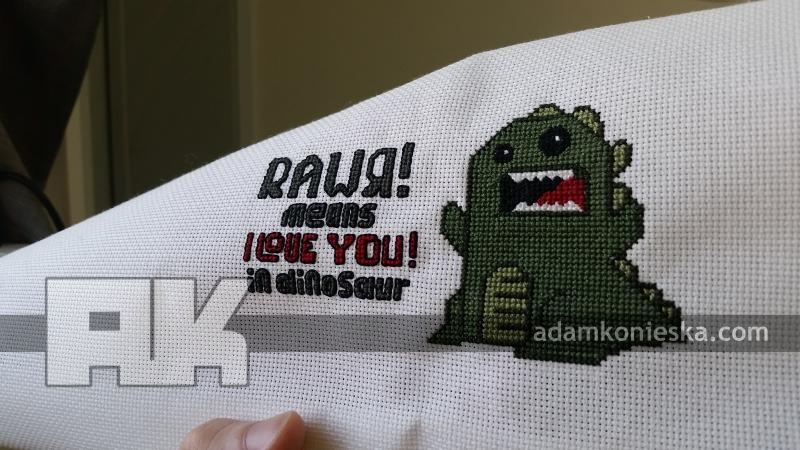 Rawr Means I Love You in Dinosaur Cross Stitch