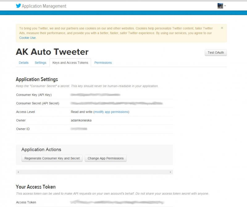 Twitter Application Keys and Access Tokens